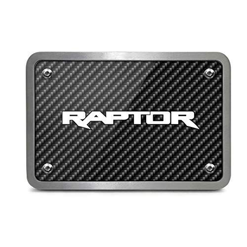 iPick Image Ford F150 Raptor 2017 to 2018 Black Carbon Fiber Look Billet Aluminum 2 inch Tow Hitch Cover