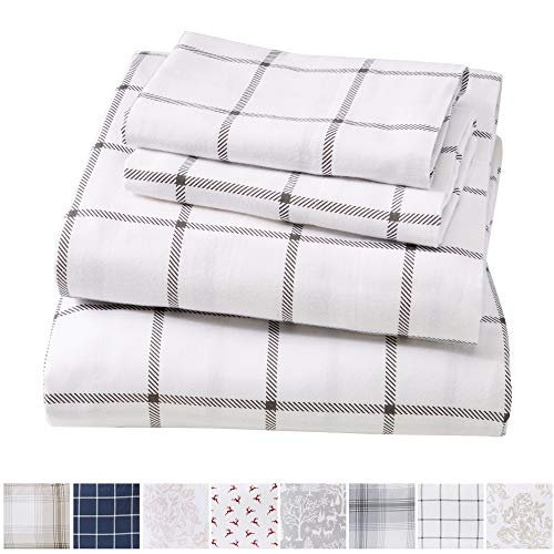 Extra Soft Windowpane 100% Turkish Cotton Flannel Sheet Set. Warm, Cozy, Lightweight, Luxury Winter Bed Sheets. Belle Collection (Queen, White/Grey)
