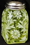 Daisy & Fern Vaseline Opalescent Glass Square Stove Top Spice Jar