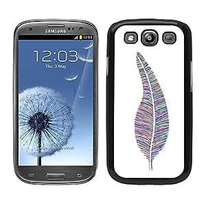Funda carcasa para Samsung Galaxy S3 diseño pluma estampado de colores borde negro