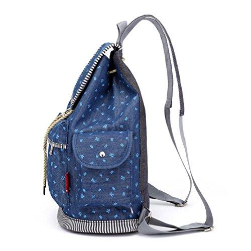 Sunshinehomely Women Girls Denim Drawstring Backpack Leisure Student Schoolbag Large Capacity Double Shoulder Travel Bag by Sunshinehomely (Image #4)