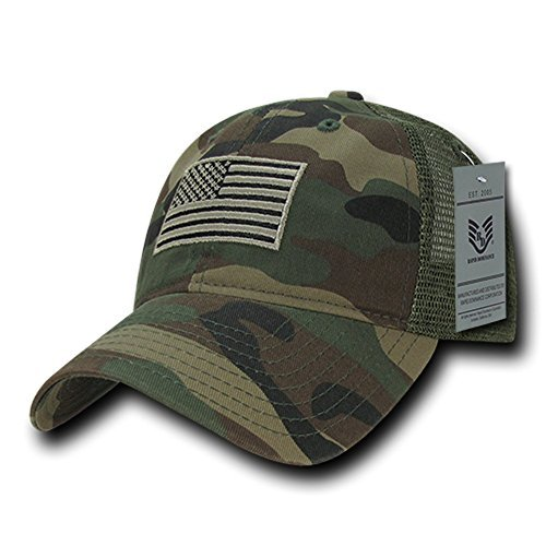 (Rapid Dominance Soft Fit American Flag Embroidered Cotton Trucker Mesh Back Cap - Woodland Camo)