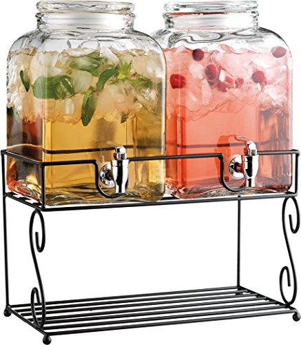 Home Essentials & Beyond Heritage Twin 1.37 gallon Beverage Dispenser with Rack, Clear by Home Essentials & Beyond