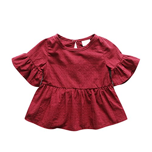 Baby Girl Dress, Lotus Leaf Style Toddler Dress / Dance Skirt for 1-4 Years,Red,80(9-12 Month)