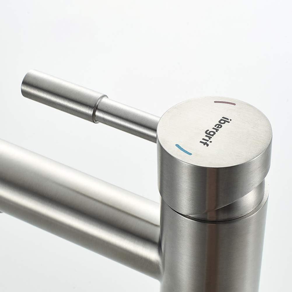 Mezclador Monomando para Lavabo N/íquel Pulido Ibergrif M11103 Mundo Gris Grifo Acero Inoxidable