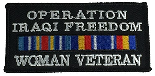 (Operation Iraqi Freedom Woman Veteran with Ribbons Patch- Veteran Owned Business)