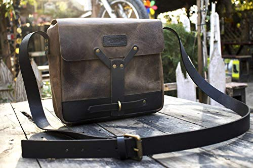 Leather Vintage Messenger Bag/Leather Satchel - Tobacco Brown ()