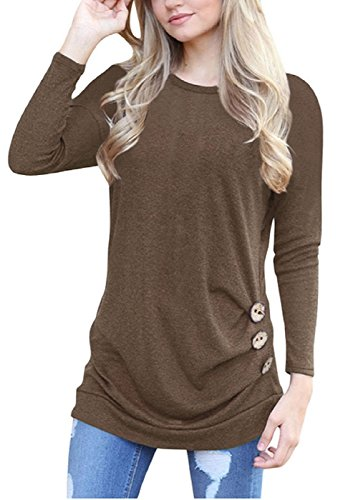 SRYSHKR Women Plus Size Round Neck Shoulders Long Sleeves Thin Waist Button Decoration T-shirt Blouses (XXL, Khaki)
