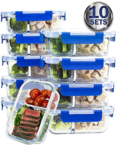 [10 SETS VALUE PACK] Two Compartment Glass Meal Prep Containers – Glass Food Storage Containers with Lids Meal Prep – LIFETIME Lids - Lunch Containers Portion Control Containers - BPA Free Containers