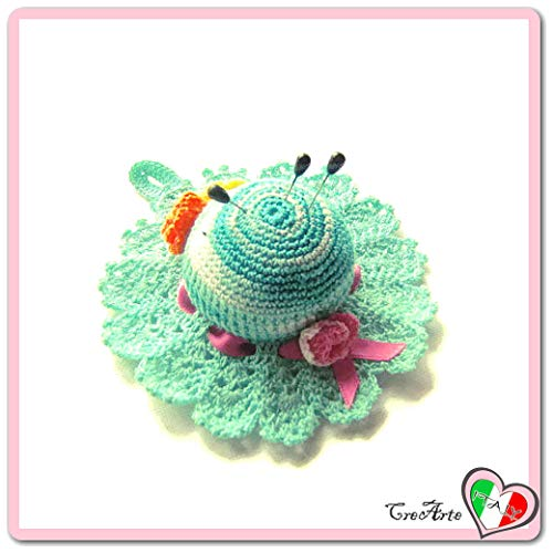 Shades of Aquamarine crochet hat pincushion in cotton - size ø 4.9 inch - Handmade - ITALY ()