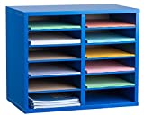 AdirOffice Wood Adjustable Literature Organizer (12 Compartment, Blue)