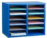 AdirOffice Wood Adjustable Literature Organizer (12 Compartment, Blue)