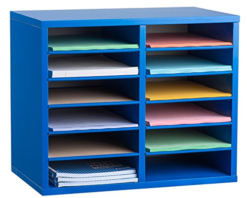 AdirOffice Wood Adjustable Literature Organizer (12 Compartment, Blue) by AdirOffice