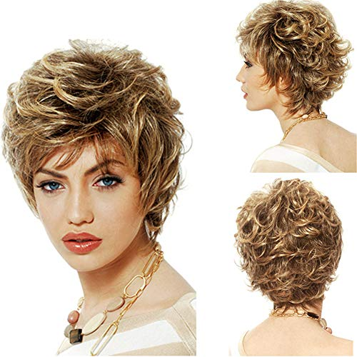 High Temperature Silk - Short Hair Curly Hair Realistic High Temperature Silk Chemical Fiber Hood Heat Resist Cospaly Party Bob Hair Wig for Lady Madam Daily Life