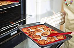 Sidily Silicone Baking Mat-- Professional Grade Cookie Sheet Liner, Non-Stick, Durable, & Reusable Silicone Cookie Sheets with Extra Oil Brush