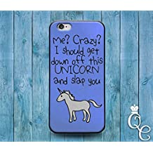 *BoutiqueHouse* iPhone 4 4s 5 5s 5c SE 6 6s plus + iPod Touch 4th 5th 6th Generation Cute Custom Blue Unicorn Quote Phone Cover Weird Funny Girl Animal Case(iPhone 5c)