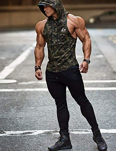 PAIZH Mens Camouflage Print Sleeveless Hoodie Bodybuilding Hooded Tank Top