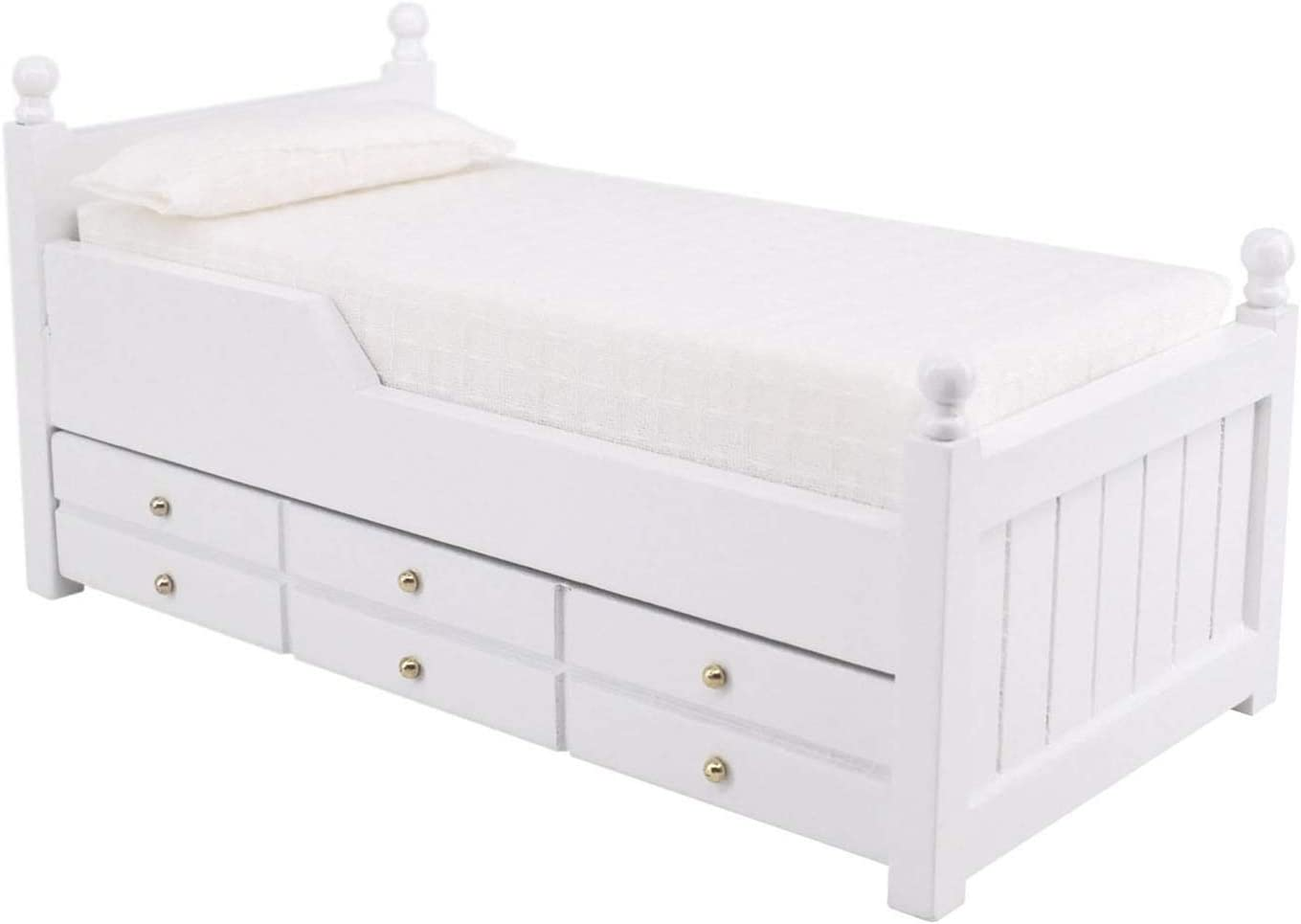 Doll House Mini Toy Furniture Bed Drawer Wooden Girls Favourite with Sliding Drawers 1:12 White