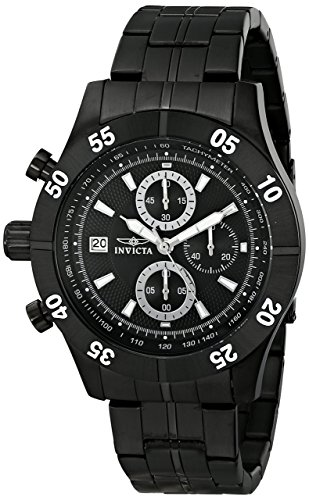 Invicta Men's 11279 Specialty Chronograph Black Textured Dial Black Ion-Plated Stainless Steel Watch (Black Ion Plated Watch)