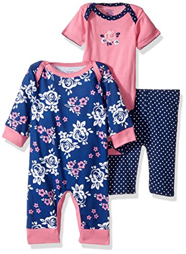 Gerber Baby 3 Piece Coverall, Bodysuit, and Pant Set, roses, 0-3 Months