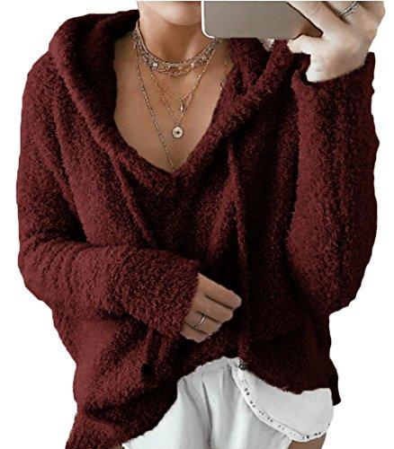 S amp; amp; Pullover Rosso Cappuccio Moda Felpa Le pelliccia Della Donne W Vino Con Eco M Manica Bassiera Lunga qERAxdw5E