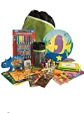 Travel Activity Bag Kit for Kids - Keep children busy on the airplane or in the car. For boys or girls age 6-12. Backpack, toys, games, crafts, travel cup and more. 20 piece bundle.