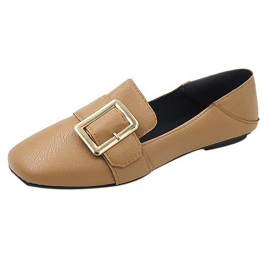da05c19c7a5eb Amazon.com: Sharemen Fashion Women's British Retro Flat Shoes Metal ...