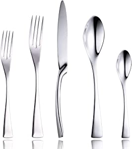 Lemeya 20 Pieces Flatware Cutlery Set,18/10 Stainless Steel Silverware Utensils Service for 4,Include Knife/Fork/Spoon, Mirror Polished,Dishwasher Safe (Silver 20 Pieces Set)