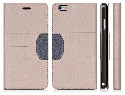 DONZO Tasche Handyhülle Cover Case für das Apple iPhone 6 Plus / 6S Plus in Gold Wallet Cross als Etui seitlich aufklappbar im Book-Style mit Kartenfach nutzbar als Geldbörse