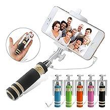 ONX3 (Black) LG G3 A Universal Adjustable Mini Selfie Stick Pocket Sized Monopod Built-in Remote Shutter