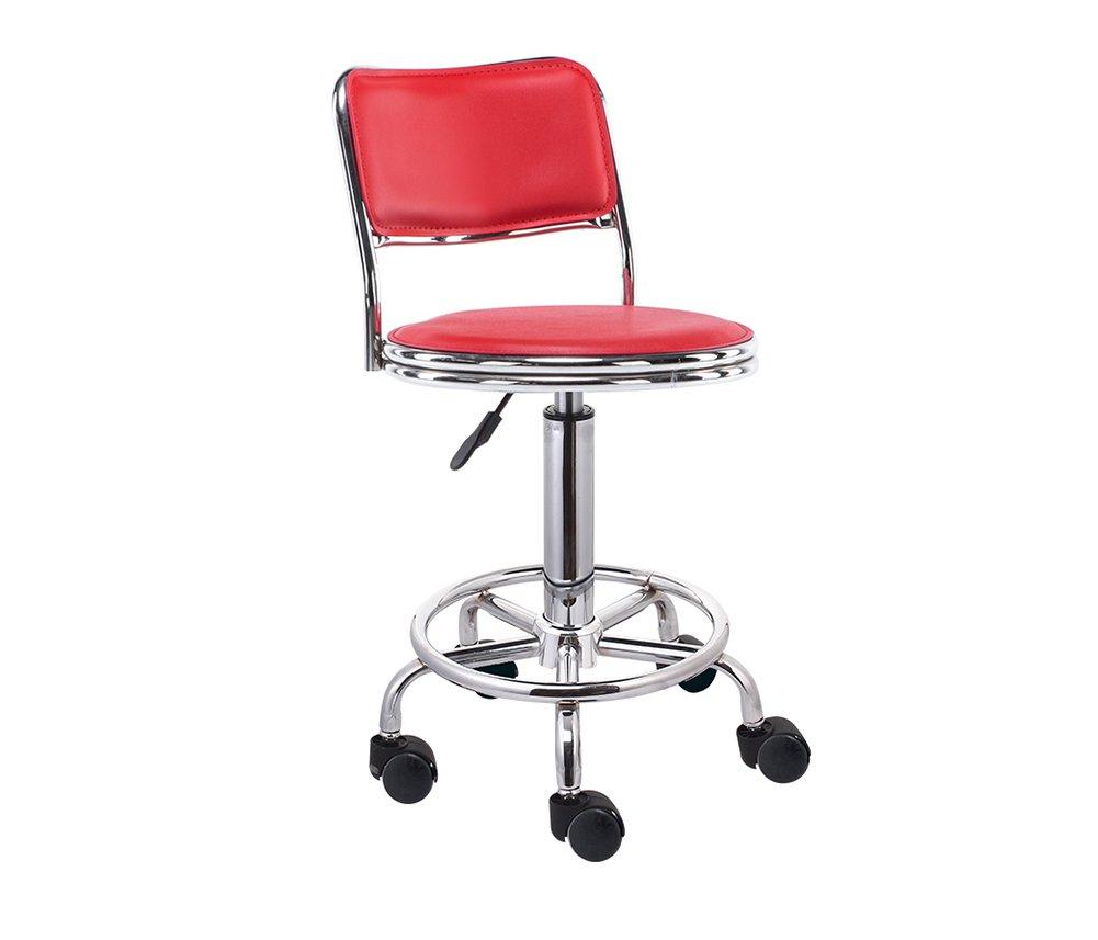 バーチェア、ハイバックバースツール美容椅子フロントデスクチェア回転スツールリフト3色 (色 : Red) B07F1FX432 Red Red