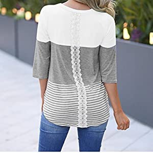 FORUU T Shirts for Women Comfort Casual Loose Striped Patchwork Lace 3/4 Sleeve