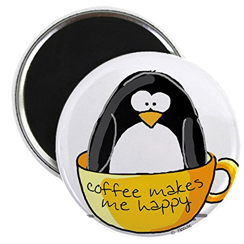 """CafePress - Coffee penguin Magnet - 2.25"""" Round Magnet, Refrigerator Magnet, Button Magnet Style"""