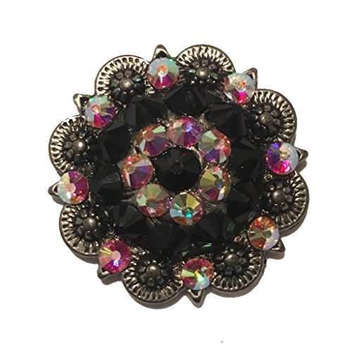 SPARKLING CRYSTAL AB AND JET BLACK BERRY CONCHO 1.5