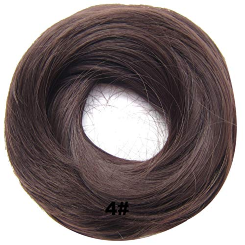 PrettyWit Hairpieces Short Curly Hair Extension Messy Bun Updo Chignons Piece Wig Scrunchy BridalMedium Brown 4#