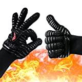 Oven Gloves Heat Resistant Mitts, Extreme 932°F BBQ Cooking Gloves, Flexible Oven Mitts for Cooking, Baking and Grilling - Professional Indoor Outdoor Grilling Kitchen Gloves (1 Pair) by Yangdx