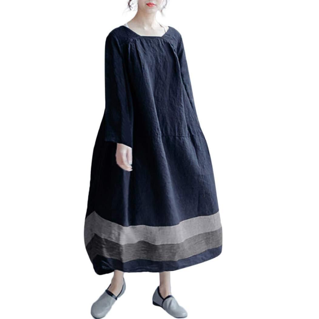Women Dress,Dainzuy Vintage Casual Loose Long Sleeve Panelled Long One Piece Dress