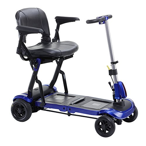 Drive Medical Zoome Flex Ultra Compact Folding Travel 4 Wheel Scooter, Blue Scooter Store