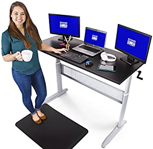 Transcendesk Standing Desk - 55 inch Long - Easily Crank from Sitting to Standing (Black Top / Silver Frame)