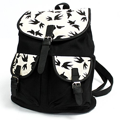 Bag2Bag - Bolso de Mochila niña Unisex, niños Mujer unisex - adultos Black Swallows - 2 Pockets