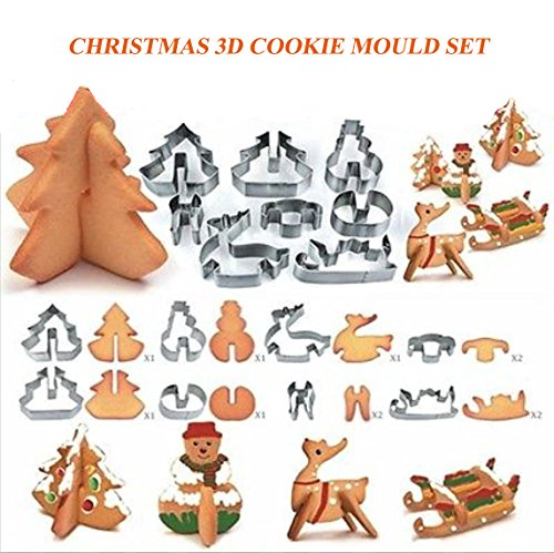 Christmas Holiday Cookie (Christmas Cookie Cutters Set,3D Cake Biscuit Tool, Stainless Steel Baking Molds with Favorite Holiday Shapes including Snowman, Christmas Tree, Elk, Sleigh for Kids/Party by MAYBEST (8PACK))
