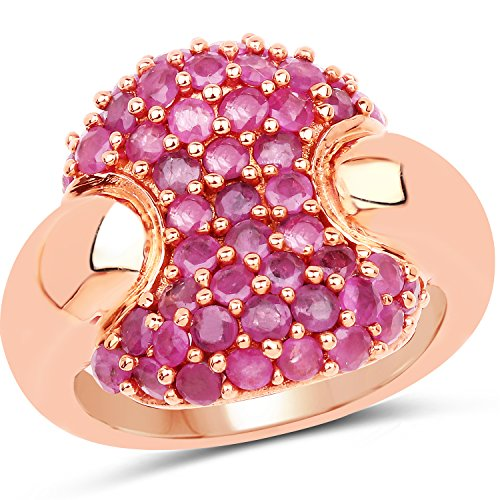 Dazyle 14K Rose Gold Plated 2.20 ct. Genuine Ruby Brass Ring