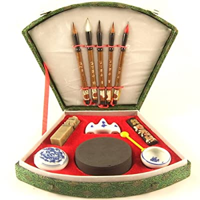 Chinese Calligraphy & Oriental Ink Writing / Paint Set - Includes 5 Brushes, Ink Stone, Seal - Small