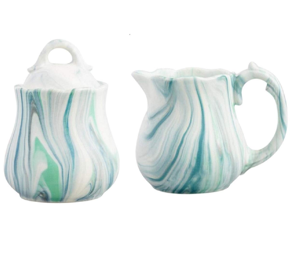 Marble Creamer and Sugar Bowl Pot with Lid Set - Green Stoneware
