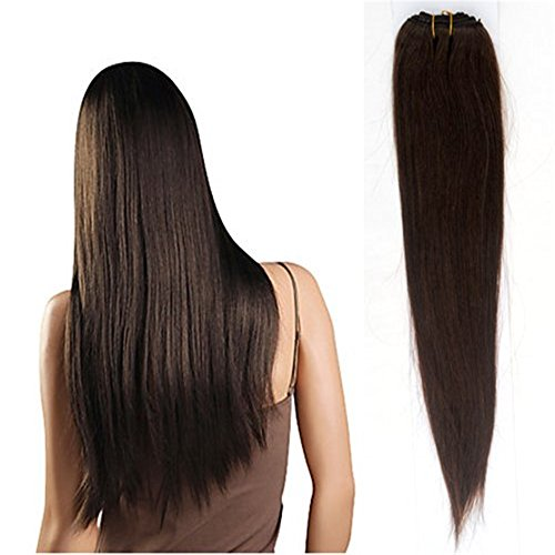 GSL® Hair Fashionable 3Bundles/300g Full Head Brazilian 100% Remy Human Hair Weft Weave Extensions Straight DIY for Women Beauty Hot Sale (Hair Length:22inch+24inch+26inch, #2 Dark brown)