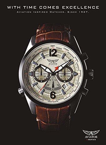 b12874715 Aviators Watch by Aviator F-Series – Aviators Brown Strap Beige Dial and Luminous  Indices – Pilot Quartz Chronograph AVW2120G318