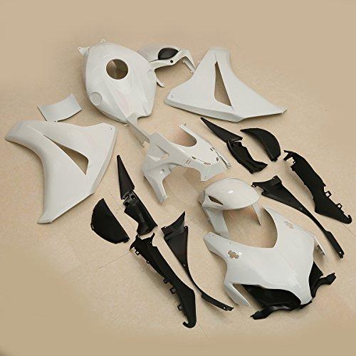 XMT-MOTO ABS Injection Fairing kit bodywork For HONDA CBR1000RR 2008 2009 2010 2011(Unpainted White,1 Set)+Free Windscreen ()