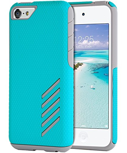 iPod Touch 6 Case, iPod 6 Case,iPod Touch 5 Case,BENTOBEN Dual Layer Ultra Slim Fit Anti-Slip Protective Hybrid iPod Touch Case Hard PC Shockproof Cover for Apple iPod Touch 5 6th Generation,Blue/Gray
