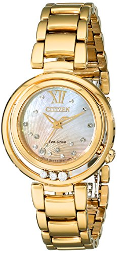 Gold Tone Floating Crystal Watch - Citizen Women's Eco-Drive Watch with Diamond Accents, EM0322-53Y