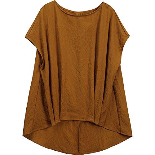 Girocollo Donna Unita Marrone A Momo165451 Lunghe Allentata shirt Da Tinta Maglietta In Maniche Dimensioni T Di Grandi Corte Rw1wg74q